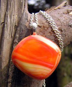 orange fused glass pendant