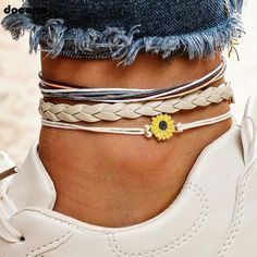 $11.23 | ZG Bohemian Colorful Rope Flower Layered Anklets Set for Women Knitting Multilayer Anklet Bracelet Pulseras Outfit Accessories FromTouchy Style | Free International Shipping. Anklet Bracelet, Strand Bracelet, Anklets, Bracelet Set, Foot Bracelet, Chakra Bracelet, Beach Jewelry, Jewelry Gifts, Bohemian Jewelry