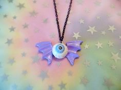 Pastel Goth Eyeball Bat Polymer Clay Necklace