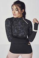 Amelia Seamless L/S Pullover in Black Swirl/Mauve -