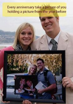 anniversary idea.  I love this idea.  Even taking the pic just every five years would be cute!