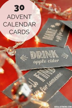 Print these free Advent calendar activity cards to make your Christmas merry and bright and chalkboard-y, all at once. love these holiday traditions! Adult Advent Calendar, Advent Calendar Activities, Advent Calenders, Holiday Activities, Calendar Printable, Free Printable, Advent Calendar Ideas For Adults, Christmas Activities For Adults, Christmas Countdown