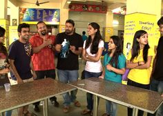The duo get ready to sink their teeth into the food that Hindu College of DU has to offer