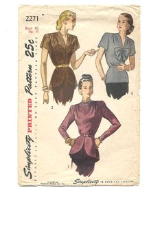 1940s BLOUSE with PEPLUM 40s Swing Era ~ Rare ~ Vintage Simplicity Sewing Pattern Bust 40 Hip 43 ~ Plus Size ~ Fitted ~ Long or Short Sleeve