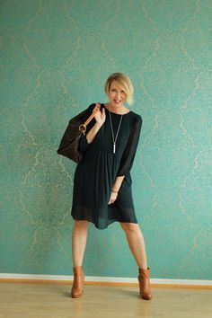 A fashion blog for women ove 40 and mature women  Dress: Dorothee Schumacher Booties: Alberto Fermani Bag: Louis Vuitton
