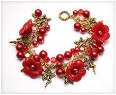 FREE SHIPPING Beaded Chunky Bracelet with Roses by ShopMadeByMari, $18.00
