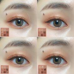 Makeup 101, Cute Makeup, Skin Makeup, Makeup Inspo, Beauty Makeup, Korean Eyeshadow, Korean Eye Makeup, Asian Makeup Looks, Rose Beige