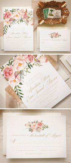 Blush Floral Wedding Invitation Boho Chic Wedding Invites #weddinginvitation