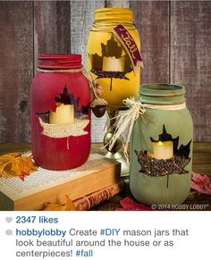 DIY Hobby Lobby FALL Mason JARS! Love it!