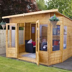 90 Beautiful Summer House Design Ideas And Makeover. You may not have a summer house yet but that doesn't mean you can't dream about decorating a future one. Corner Summer House, Summer Houses, Avon, Shiplap Cladding, Tongue And Groove Panelling, Garden Buildings, Wooden Garden, Shed Plans, Double Doors