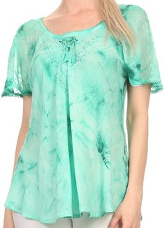 Sakkas Hana Tie Dye Relaxed Fit Embroidery Cap Sleeves Peasant Batik Blouse / Top