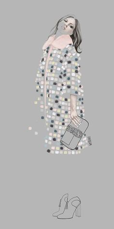 Textured coat fashion illustration- want one! Fendi, Agata Wierzbicka illustration