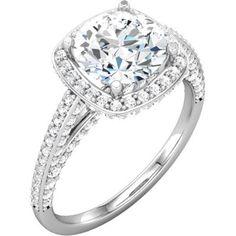 14K White Halo-Styled Split-Shank Engagement Ring or Matching Band   Stuller.com