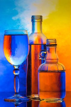 Color Photography, Amazing Photography, Blue Orange, Orange Color, Experimental Photography, Wine Art, Blue Bottle, Complimentary Colors, World Of Color