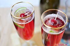 Cranberry Pomegranate Bellinis with Lime
