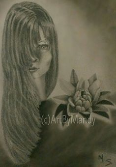 "Flower Girl by Mandy Sowell Pencil ~ 11"" x 8.5"""