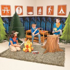 """Set up camp in your VBS classroom with these fun backdrops and photo prop stand-ups. VBS students will love sitting around the """"campfire"""" . Camping Books, Camping Games, Camping Theme, Vbs Themes, Classroom Themes, Classroom Design, Camp Out Vbs, Indoor Camping, Vbs Crafts"""