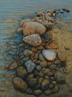 Landscapes-(click title to see more paintings) Seascape Paintings, Landscape Paintings, Landscapes, Watercolor Sunset, Watercolor Art, Water Sketch, Beach Sketches, Art Basics, Beach Rocks