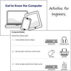 Computer Lessons for Beginners: Fun and engaging activities introduce elementary students to computers. Designed for beginners. Includes all teacher resources and student workbook. Elementary Computer Lab, Computer Lab Lessons, Computer Lab Classroom, Computer Teacher, Computer Class, Technology Lessons, Computer Basics, Teaching Technology, Computer Science