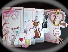 4 FOLD Card Kit Love Cats  on Craftsuprint designed by Valerie Dawes - made by Cynthia Massey - Printed onto Crafty Bobs photo paper and followed the very easy instructions, decoupages with foam pads, there was plenty of decoupage elements, I decoupaged 3 layers, I added two bows to the sentiments, a lovely card for any occasion with plenty of sentiments to choose from. - Now available for download!