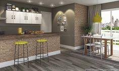 Cozinha Americana Completa com Mesa, 4 Cadeiras e 2 Banquetas Branco/Mel Parma/Preto/Amarelo/Cromado - Caaza