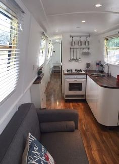 I would love our narrowboat interior to be as bright as this. House Boat, Canal Boat Interior, House, Small Spaces, Home, Boat House Interior, Narrowboat Kitchen, Floating House, Houseboat Living