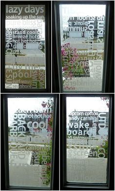 etched glass vinyl subway art idea... just ordered etched glass vinyl! :)