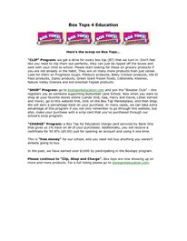 Letter to parents explaining different ways to earn Box Tops for Education