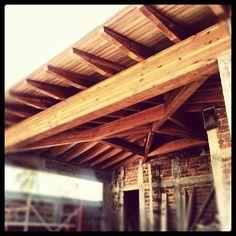 Glulam beams terrace. By O + O Arquitectura + Madera