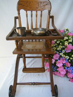 Antique Pressed Back High Chair.