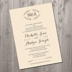 Vintage Leaf Wedding Invitation - DIY Printable Wedding Invitation ( I love the initials at the top)