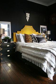 Black bedroom with gold headboard boho glam contemporary interior design, contemporary interior, modern interior Home Decor Bedroom, Cheap Home Decor, Bedroom Makeover, Bedroom Design, Luxurious Bedrooms, Bedroom Flooring, Home Decor, Eclectic Home, Apartment Decor