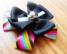 girls rainbow hairbow, boutique hair bow, pearl hair accessory, flower girl, Rain bow bow, black hairbow, little girl hair clip