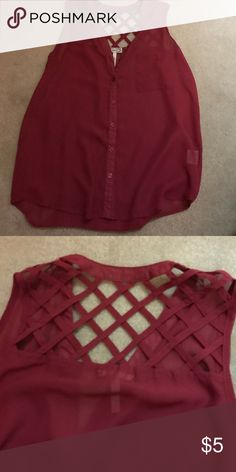 Crossed back tank top! Burgundy tank top from Pacsun! PacSun Tops Tank Tops