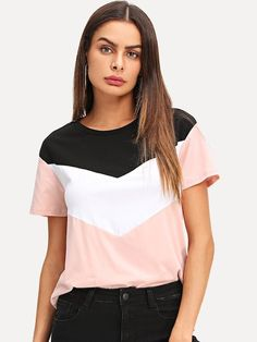Shop Cut and Sew Tee online. SheIn offers Cut and Sew Tee & more to fit your fashionable needs. Look Fashion, Fashion News, Fashion Styles, Cut Shirts, Designer, Ideias Fashion, Clothes For Women, How To Wear, Travel Party