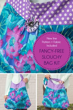 Bring captivating color to your closet with the Kaffe Fassett Classics Fancy-Free Slouchy Bag Kit! You'll receive a Melissa Peda pattern and gorgeous Kaffe Fassett fabric to sew this travel-ready tote. Featuring a trendy slouch silhouette and spectacular florals, this purse is too pretty to resist!