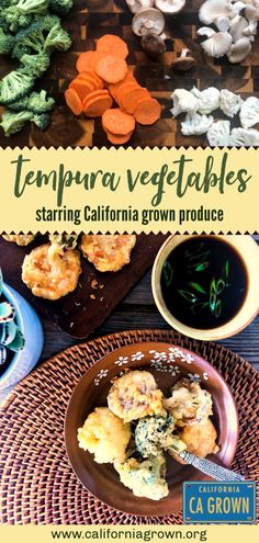 These crispy fried Tempura Vegetables are totally addictive! Try it with fresh in-season veggies like cauliflower, broccoli, sweetpotatoes, and mushrooms. Tempura Cauliflower, Veggie Tempura, Tempura Vegetables, Veggie Fries, Veggies, Sushi Recipes, Vegetarian Recipes, Healthy Recipes, Healthy Food