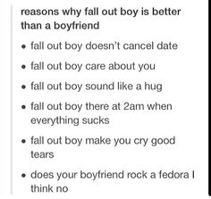 Conclusion: I should just get a boyfriend who is in the band Fall Out Boy and conquer the world