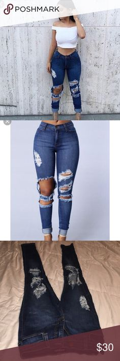 Ripped jeans Cute ripped jeans from fashion nova only worn once Fashion Nova Jeans Skinny