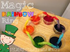 """""""Magic Rainbow Ring"""" a smart fun! St patrick day science experiments for students St Patrick Day Activities, Spring Activities, Holiday Activities, Science Activities, Science Projects, Classroom Activities, Activities For Kids, Science Experiments, Science Videos"""