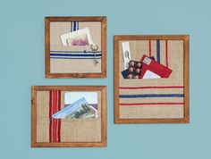 To make custom frame pockets that are perfect for storing small items like letters and keys, all you need is fabric and cardboard. Hang them in your entryway!