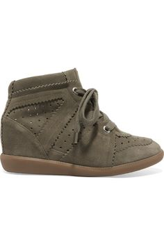 Isabel Marant - étoile Bobby Suede Wedge Sneakers - Army green - FR