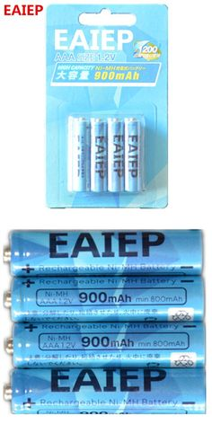 Wholesale 4 X EAIEP Bateria AAA Batteries NI-MH 600mAh Low-Self discharge AAA Rechargeable 3A Battery Batteries
