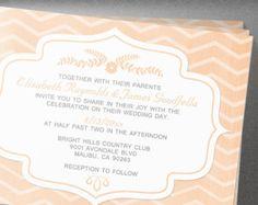 Peach Chevron Wedding Invitation