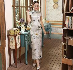 Traditional White Mulberry Silk Full Length Floral Chinese Dress Qipao Cheongsam - iDreamMart.com