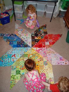 Love, love, love this rainbow I Spy quilt. What a clever idea for a kids room, and using up stash fabric lol.