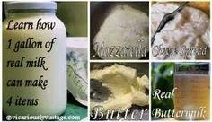Homemade butter buttermilk & motzarella