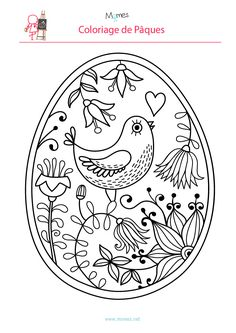 Coloriage-de-l-oeuf-de-Paques-a-l-oiseau. Easter Coloring Pages, Colouring Pages, Coloring Books, Egg Crafts, Easter Crafts, Embroidery Patterns, Hand Embroidery, Ukrainian Easter Eggs, Easter Art