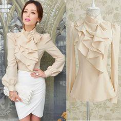 New Women Victorian Ruffle Collar Blouse Puff Sleeve Silky Luxurious Top Shirt #other #Blouse