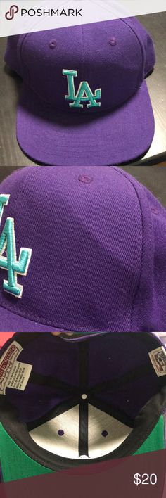 Los Angeles Dodgers LA Snapback Purple Teal Mens Los Angeles Dodgers LA Snapback Purple Teal Mens with slight bend on the front see second pic American Needle Accessories Hats
